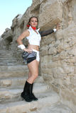 Modern dancer. Beautiful modern dancer on the ancient stairs of Kurion amphitheatre in Cyprus royalty free stock image
