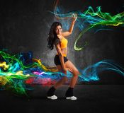 Modern dancer. Of a girl with motion effect royalty free stock images