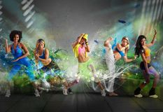 Modern dancer team. A group of Modern dancer with motion effect Stock Images