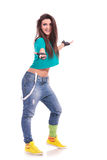 Modern dancer welcoming you. Young woman modern dancer welcoming you with a big smile on her face and arms opened Royalty Free Stock Photography