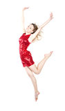 Modern dancer woman poses in studio. On white background stock images