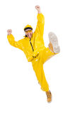 Modern dancer in yellow dress isolated Stock Photos