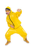 Modern dancer in yellow dress isolated Stock Images