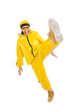 Modern dancer in yellow dress isolated Stock Photo