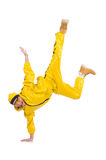 Modern dancer in yellow dress isolated Stock Image