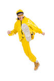 Modern dancer in yellow dress Royalty Free Stock Photo