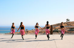 Modern dancers. Beautiful modern dancers at the sea in Cyprus Royalty Free Stock Photos