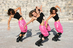 Modern dancers. Beautiful modern dancers at  the ancient stairs of  Kurion amphitheatre in Cyprus Royalty Free Stock Images