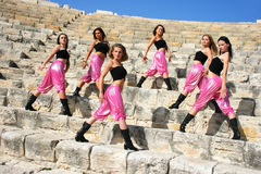 Modern dancers. Beautiful modern  dancers on the ancient stairs of  Kourion amphitheatre in Cyprus Stock Images