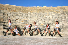 Modern dancers. Beautiful modern dancers on the ancient stairs of  Kourion amphitheatre in Cyprus Royalty Free Stock Images
