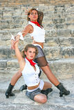 Modern dancers. Beautiful modern dancers on the ancient stairs of Kourion amphitheatre in Cyprus Royalty Free Stock Photography