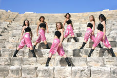 Modern dancers. Beautiful modern dancers on the ancient stairs of Kurion amphitheatre in Cyprus Royalty Free Stock Photo