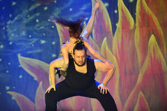 Modern dancers. Couples dancing Modern dance in end of the year classes show in karmiel Israel Stock Photos