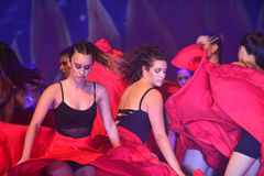 Modern dancers. Dancer dancing Modern dance in end of the year classes show in karmiel Israel Royalty Free Stock Photography