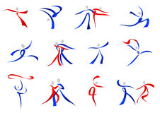 Modern dancers icons and symbols Royalty Free Stock Images