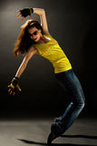 Modern dances. A young nice girl dancing modern dances stock photo