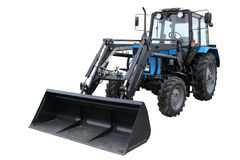 The modern dark blue tractor. Isolated on a white background Royalty Free Stock Photo