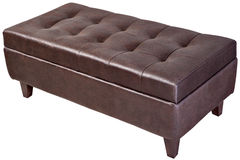 Modern, dark brown, button tufted leatherette bench ottoman upho Stock Image