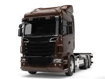 Modern dark brown heavy transport truck without a trailer Stock Images
