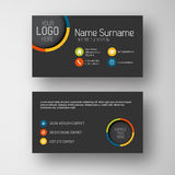 Modern dark business card template with flat user interface Royalty Free Stock Photo