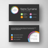 Modern dark business card template Royalty Free Stock Images