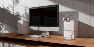 Modern dark desk office interior with computer and devices 3D re Stock Image