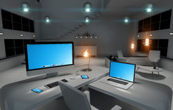 Modern dark desk office interior with computer and devices 3D re Royalty Free Stock Photo