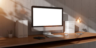 Modern dark desk office interior with computer and devices 3D re Royalty Free Stock Images