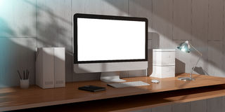 Modern dark desk office interior with computer and devices 3D re Stock Photography