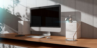 Modern dark desk office interior with computer and devices 3D re Stock Photo