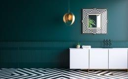 Modern dark green living room. 3d render stock illustration