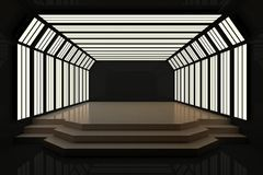 Modern dark interior with podium. And copy space. Mock up, 3D Rendering Stock Photos