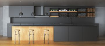Modern dark kitchen interior. With furniture and equipment. 3D Rendering Royalty Free Stock Images