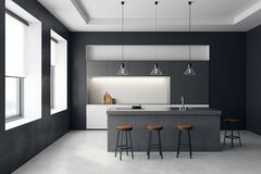 Modern dark kitchen interior. With furniture and equipment. Style and design concept. 3D Rendering Royalty Free Stock Images