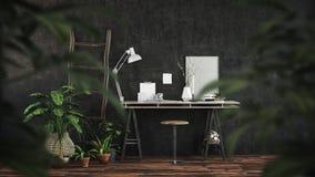 Modern dark office interior with trestle desk Royalty Free Stock Image