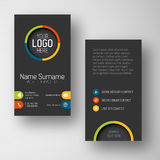 Modern dark vertical business card template with flat user interface Royalty Free Stock Images