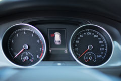 Modern Dashboard of a car with a high mileage close up. Modern dashboard of a car with a high mileage Royalty Free Stock Photo