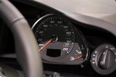 Modern dashboard on super fast car. Modern dashboard on super fast performance car royalty free stock photo