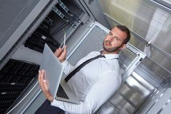 Modern datacenter server room Stock Image