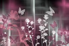 Modern day art. Colorful art of flowers and butterflies Stock Photography