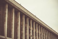 Modern day building with pillars or columns in Brussels Belgium Royalty Free Stock Images