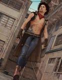 Modern Day Tattooed Barechested Cowboy Stock Photo