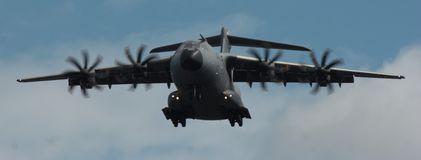 Modern Day Teleports. This Is a photo of a A400 Military aircraft. its most used purpose is transportation of goods, people (military personal) or cargo Royalty Free Stock Photo
