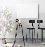 Modern de barbinnenland van de Kerstmiszolder, die uit een het dineren gebied bestaan Royalty-vrije Stock Afbeeldingen