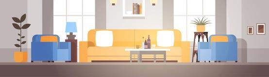 Modern de Flatontwerp van het woonkamer Binnenlands Huis Stock Foto