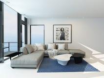 Modern de woonkamerbinnenland van de waterkant royalty-vrije illustratie