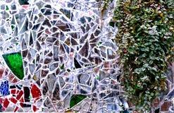 Modern decoration on broken mirror street stock photo