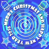 Modern decoration with inscription merry christmas and happy new year 2016  Royalty Free Stock Photos
