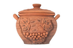 Crock. Modern Decorative Arts of Ukraine. Hand made with clay stock photo