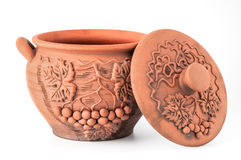 Crock with the lid open. Modern Decorative Arts of Ukraine. Hand made with clay Royalty Free Stock Images